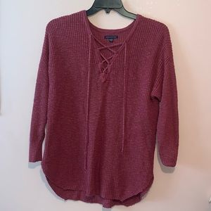 American Eagle Tie Up Pink/Red Colored Sweater